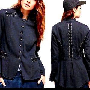 Free people Victorian lace up jacket small indigo